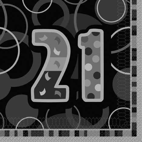 Glitz Black 'Happy Birthday' Napkins - 21