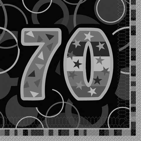 Glitz Black 'Happy Birthday' Napkins - 70