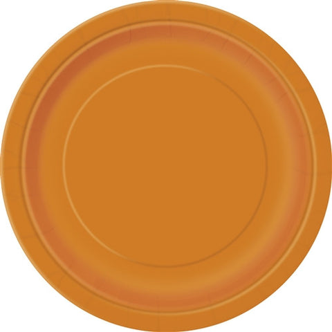 16 Pumpkin Orange Paper Plates