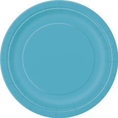 8 Caribbean Teal Paper Plates