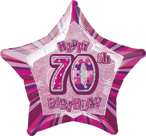 Happy 70th Birthday - Pink Glitz Foil Balloon