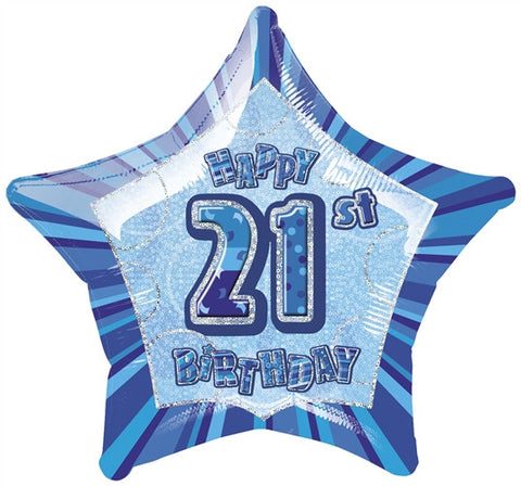 Happy 21st Birthday - Blue Glitz Foil Balloon