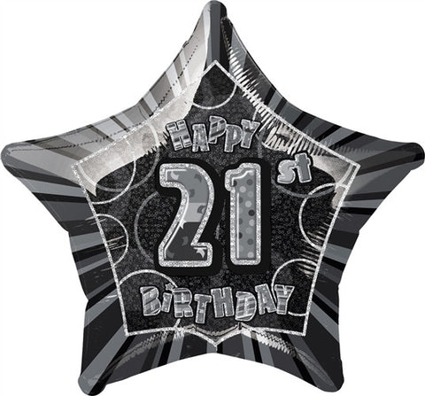 Happy 21st Birthday - Black Glitz Foil Balloon