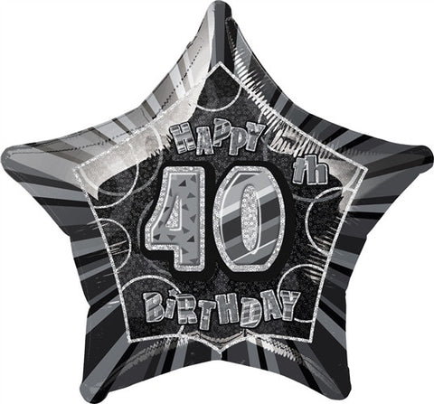 Happy 40th Birthday - Black Glitz Foil Balloon