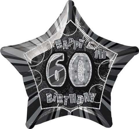Happy 60th Birthday - Black Glitz Foil Balloon