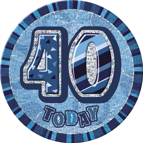 "Glitz Blue Birthday Badge - ""40 Today"""
