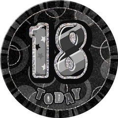 "Glitz Black Birthday Badge - ""18 Today"""
