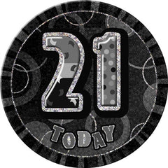 "Glitz Black Birthday Badge - ""21 Today"""