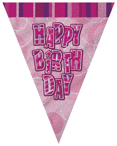 Glitz Pink - Birthday Flag Banner