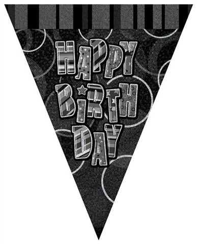 Glitz Black - Birthday Flag Banner