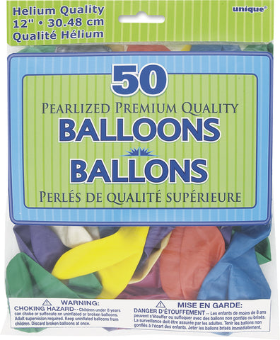 "Pearlized Assorted 12"" Balloons Pk 50"