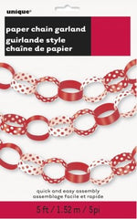Paper Chain Garland - Ruby Red Decorative Dots