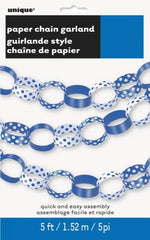 Paper Chain Garland - Royal Blue Decorative Dots