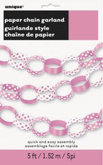 Paper Chain Garland - Hot Pink Decorative Dots