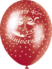 "Happy 40th Anniversary 12"" Ruby Pearlised"