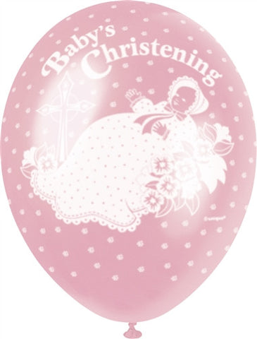 "Happy Christening 12"" Pink Pearlised"