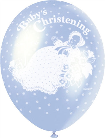 "Happy Christening 12"" Blue Pearlised"