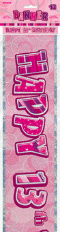 Glitz Pink Birthday Banner - Happy 13th Birthday