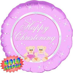 Happy Christening (Pink) - Foil Holographic Balloon