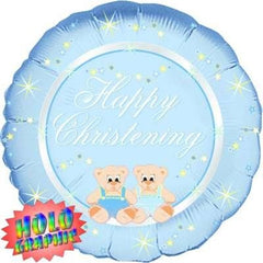 Happy Christening (Blue) - Foil Holographic Balloon