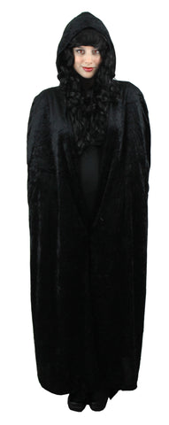 Black Hooded Velour  Cape