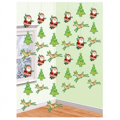 String Decoration - Santa, Reindeer & Trees