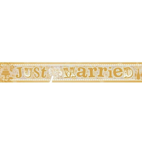 Holographic Foil Banner - Just Married