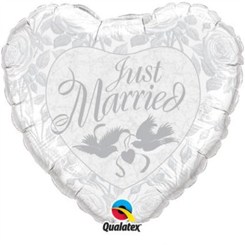 Just Married Pearl White/Silver - Foil Balloon