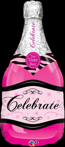 "39"" Shape Foil Balloon - Champagne Bottle Celebrate Pink"