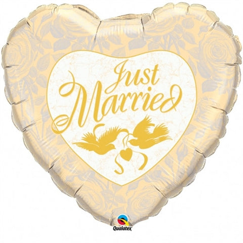 Just Married Ivory &  Gold - Foil Balloon