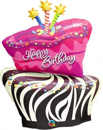 Funky Zebra Stripe Birthday Cake - Foil Balloon