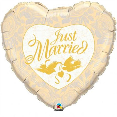 "Just Married 36"" Ivory &  Gold - Foil Balloon"
