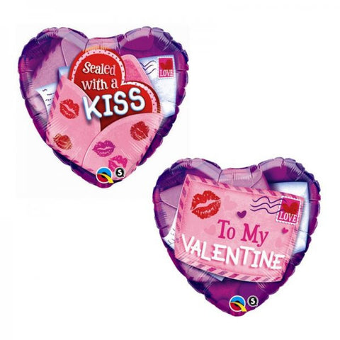 Valentine - 'Sealed with a Kiss' Foil Balloon