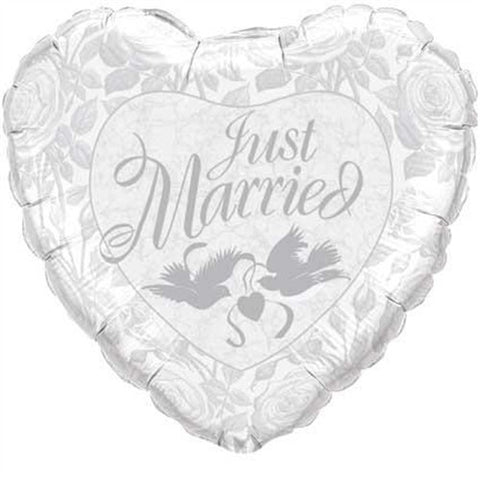 "Just Married 36"" White & Silver - Foil Balloon"