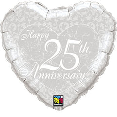 Happy 25th Anniversary Heart - Foil Balloon
