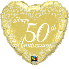 Happy 50th Anniversary Heart - Foil Balloon