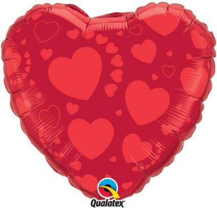 Valentine - Red Hearts Foil Balloon