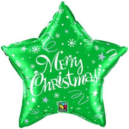 Foil Balloon - Festive Green Merry Christmas