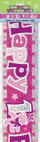 Prismatic Foil Banner - 1st Birthday Pink