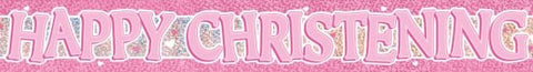 Happy Christening - Banner (Pink)