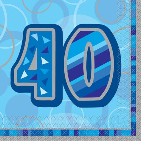 Glitz Blue 'Happy Birthday' Napkins - 40