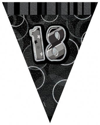 Glitz Black - Birthday Flag Banner Age 18