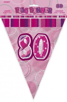 Glitz Pink - Birthday Flag Banner 80