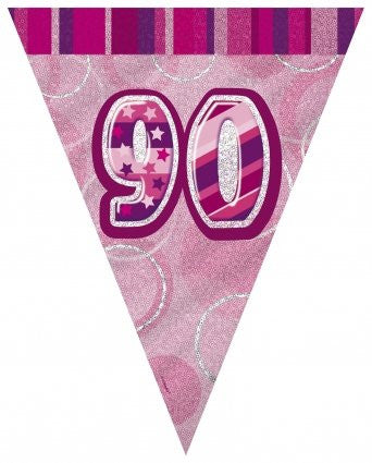 Glitz Pink - Birthday Flag Banner 90