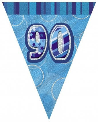 Glitz Blue - Birthday Flag Banner 90