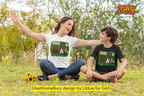 Glastonbury 2020, ,GlasHomeBury for GAS , by Libbie TShirt design, GLA07  Two designs produced on the kitchen table at one of thousands of mini festivals for the 50th Glastonbury Festival. Everything had to be done within the home because of the lockdown requirements to combat C 19 .  This one was painted by Libbie, thank you Libbie.
