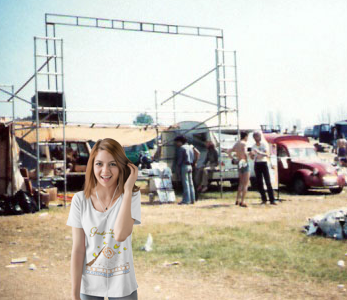 Glastonbury CND Festival 1981. Hilly in front of the GAS stand being set up.