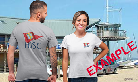 Hayling Island sailing club example of a club t shirt with a large back print and small breast print.