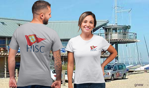 HISC T Shirt in front of clubhouse showing options of large back print and small front breast print. All customisable.