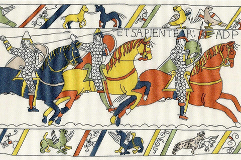 From the Bayeux tapestry, the repaired bit but still stuck in France.